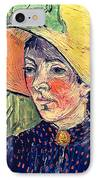 Young Peasant Girl In A Straw Hat Sitting In Front Of A Wheatfield IPhone Case by Vincent van Gogh
