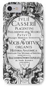 Title Page, Giulio Casserios Anatomy IPhone Case
