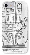 17th Century Palmistry Diagram IPhone Case by Middle Temple Library