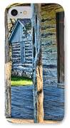 1860 Log Cabin Porch IPhone Case by Linda Phelps