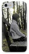 Girl Sitting On A Wooden Bench In The Forest Against The Light IPhone Case by Joana Kruse