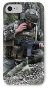 A Soldier Communicates His Position IPhone Case