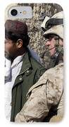 A Soldier Talks To A Local Villager IPhone Case by Stocktrek Images