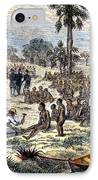 Baker Liberating Slaves In Africa, 1869 IPhone Case by Photo Researchers