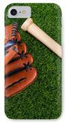 Baseball Glove Bat And Ball On Grass IPhone Case by Richard Thomas