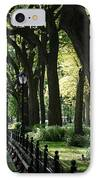 Benches Trees And Lamps IPhone Case