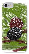 Blackberries, Woodcut IPhone Case by Gary Hincks