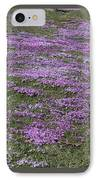 Blank Colonial Tombstone Amidst Graveyard Phlox IPhone Case by John Stephens