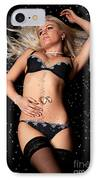 Blond In Black Lingerie Covered In Diamonds IPhone Case