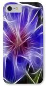 Blue Hibiscus Fractal Panel 3 IPhone Case by Peter Piatt