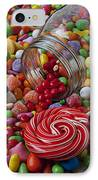Candy Jar Spilling Candy IPhone Case by Garry Gay