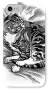 Cat Grooming Its Fur, Artwork IPhone Case by Bill Sanderson