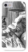 Cat Watching Sleeping Man, Artwork IPhone Case by Bill Sanderson