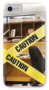 Caution Tape Blocking A Cubicle Entrance IPhone Case