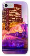 Chicago At Night With Buckingham Fountain IPhone Case by Paul Velgos