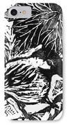Chick-a-dee  Block Print IPhone Case by Ellen Miffitt