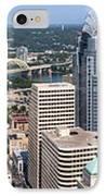 Cincinnati Panorama Aerial Skyline Downtown City Buildings IPhone Case by Paul Velgos