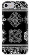 Coffee Flowers Ornate Medallions Bw 6 Piece Collage Framed  IPhone Case