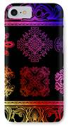Coffee Flowers Ornate Medallions Color 6 Piece Collage 2 IPhone Case by Angelina Vick