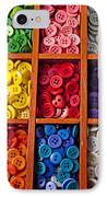 Compartments Full Of Buttons IPhone Case by Garry Gay