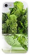 Dark Green Leafy Vegetables In Colander IPhone Case