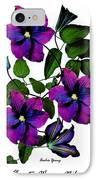 Deciduous Climber (clematis Warsaw Nike) IPhone Case by Archie Young