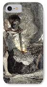 Early Humans Making Fire IPhone Case by Sheila Terry