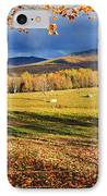 Fall Colours, Cows In Field And Mont IPhone Case