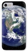 Fully Lit Earth Centered On North IPhone Case by Stocktrek Images