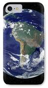 Fully Lit Earth Centered On South IPhone Case by Stocktrek Images