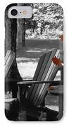 Garden Chairs With Red Flowers In A Pot IPhone Case by David Chapman