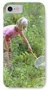 Girl Collects Insects In A Meadow IPhone Case by Ted Kinsman