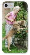 Girl Playing With Dog IPhone Case