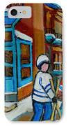 Hockey Game Corner Clark And Fairmount Wilenskys Paintings IPhone Case by Carole Spandau