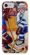 Hockey Game Scoring The Goal IPhone Case by Carole Spandau