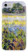 Irises And Two Fir Trees IPhone Case by Timothy Easton