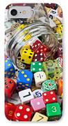 Jar Spilling Dice IPhone Case by Garry Gay