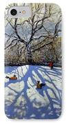 Large Tree And Tobogganers IPhone Case by Andrew Macara