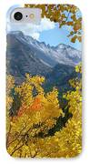 Long's Peak And The Keyboard Of The Winds Amidst Aspen Gold IPhone Case by Margaret Bobb