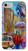 Montreal Street Scenes In Winter IPhone Case by Carole Spandau