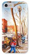 Montreal Street With Six Boys Playing Hockey IPhone Case