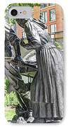 Mormon History - Hand Cart Statue IPhone Case by Gary Whitton