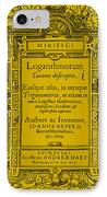 Napiers Treatise On Logarithms IPhone Case by Photo Researchers