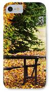 Picnic Table With Autumn Leaves IPhone Case by Elena Elisseeva
