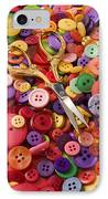 Pile Of Buttons With Scissors  IPhone Case by Garry Gay
