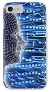 Printed Circuit Board And Wireframe Head IPhone Case by Pasieka