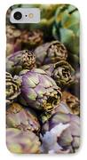 Purple Artichokes At The Market IPhone Case by Heather Applegate