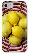 Red And White Basket Full Of Lemons IPhone Case