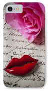 Red Lips On Letter IPhone Case by Garry Gay