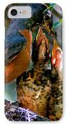 Robin Feeding Young 2 IPhone Case by Terry Elniski